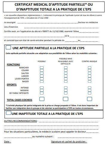 Dans la mesure du possible, il convient d utiliser ce modèle de certificat  médical pour toute dispense d EPS. 6a32a3947fa